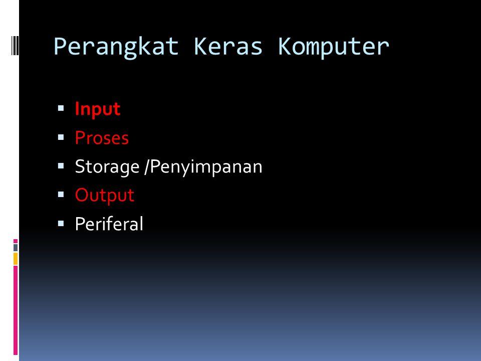 Perangkat Keras Komputer  Input  Proses  Storage /Penyimpanan  Output  Periferal