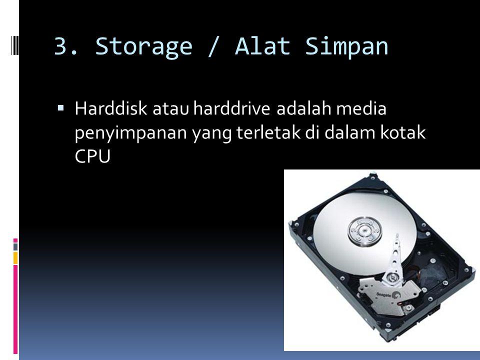 3. Storage / Alat Simpan  Harddisk atau harddrive adalah media penyimpanan yang terletak di dalam kotak CPU