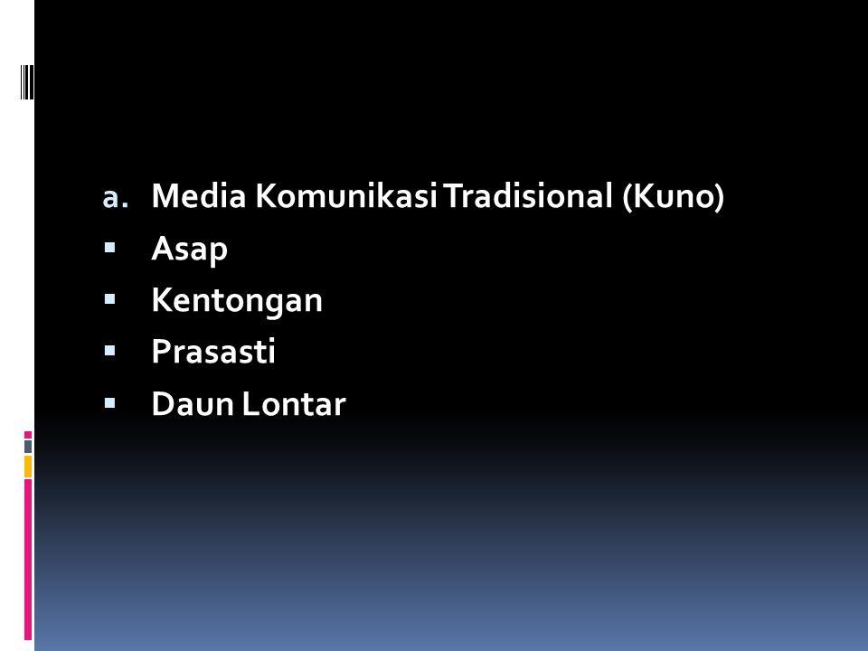 a. Media Komunikasi Tradisional (Kuno)  Asap  Kentongan  Prasasti  Daun Lontar