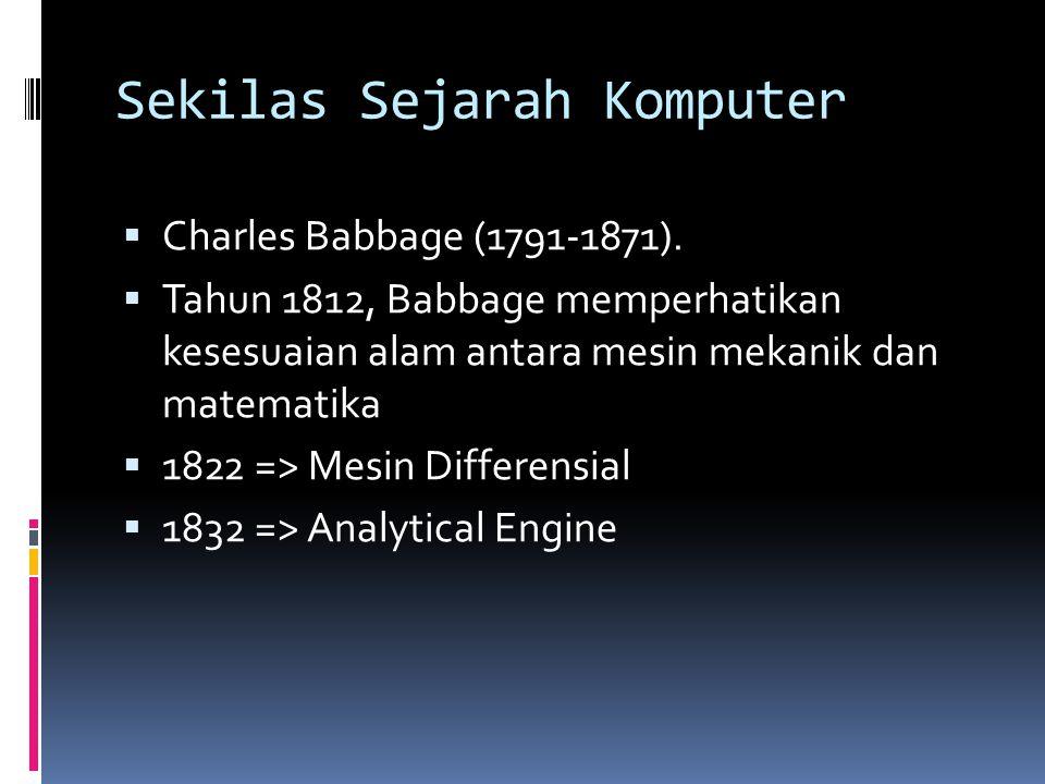 Sekilas Sejarah Komputer  Charles Babbage (1791-1871).  Tahun 1812, Babbage memperhatikan kesesuaian alam antara mesin mekanik dan matematika  1822