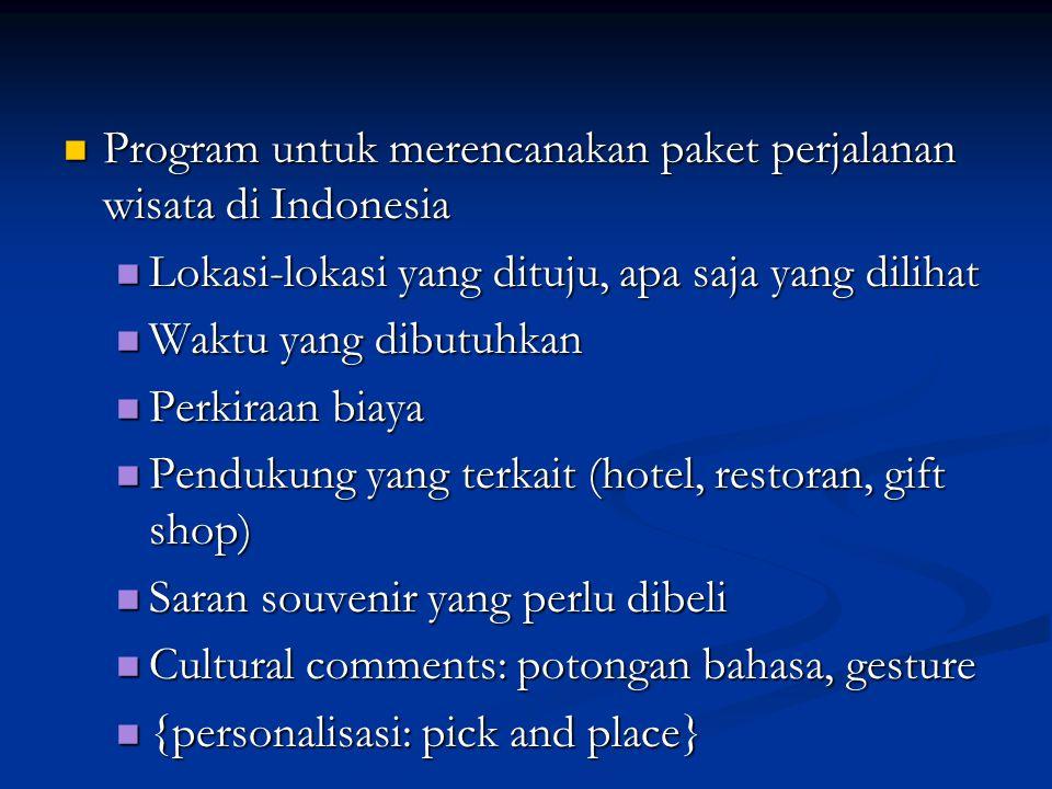  Program untuk merencanakan paket perjalanan wisata di Indonesia  Lokasi-lokasi yang dituju, apa saja yang dilihat  Waktu yang dibutuhkan  Perkira