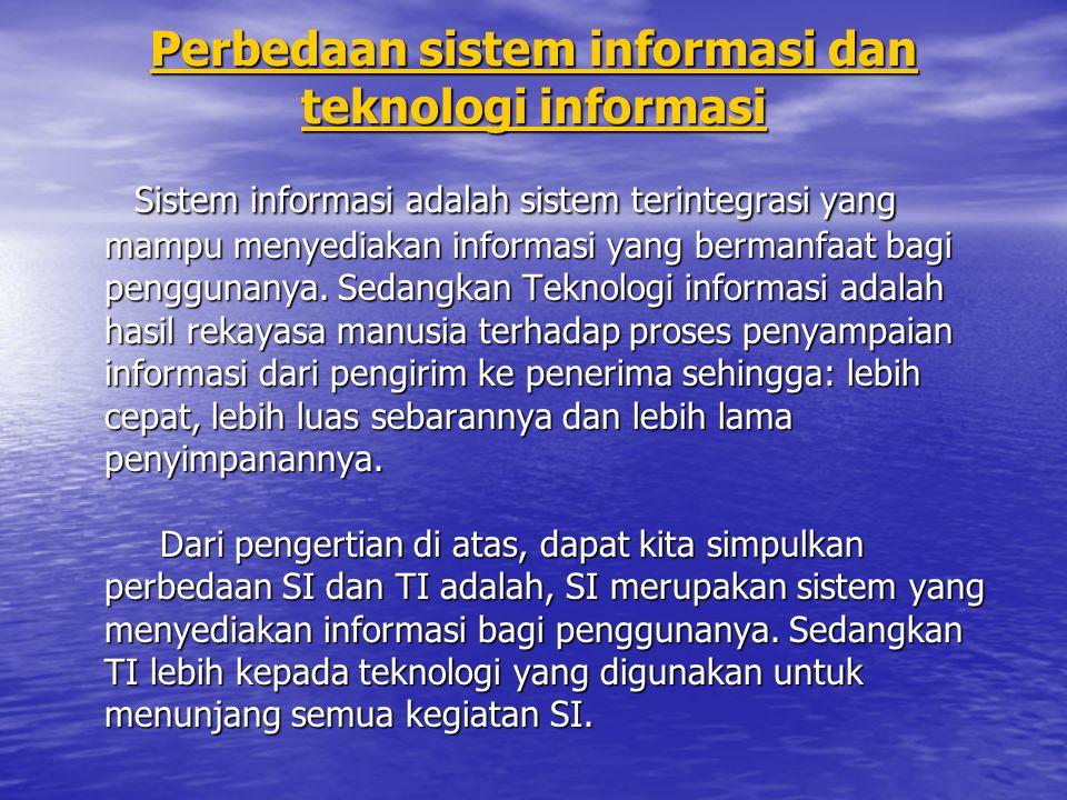 Perbedaan sistem informasi dan teknologi informasi Perbedaan sistem informasi dan teknologi informasi Sistem informasi adalah sistem terintegrasi yang