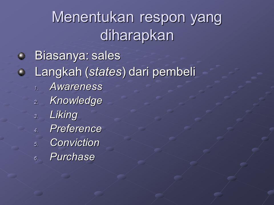 Menentukan respon yang diharapkan Biasanya: sales Langkah (states) dari pembeli 1. Awareness 2. Knowledge 3. Liking 4. Preference 5. Conviction 6. Pur