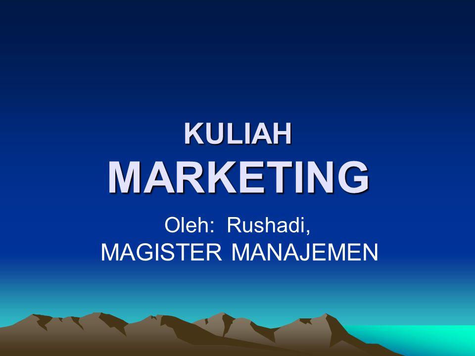 KULIAH MARKETING KULIAH MARKETING Oleh: Rushadi, MAGISTER MANAJEMEN