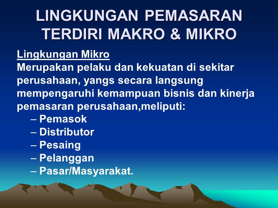 LINGKUNGAN PEMASARAN TERDIRI MAKRO & MIKRO Lingkungan Mikro Merupakan pelaku dan kekuatan di sekitar perusahaan, yangs secara langsung mempengaruhi ke