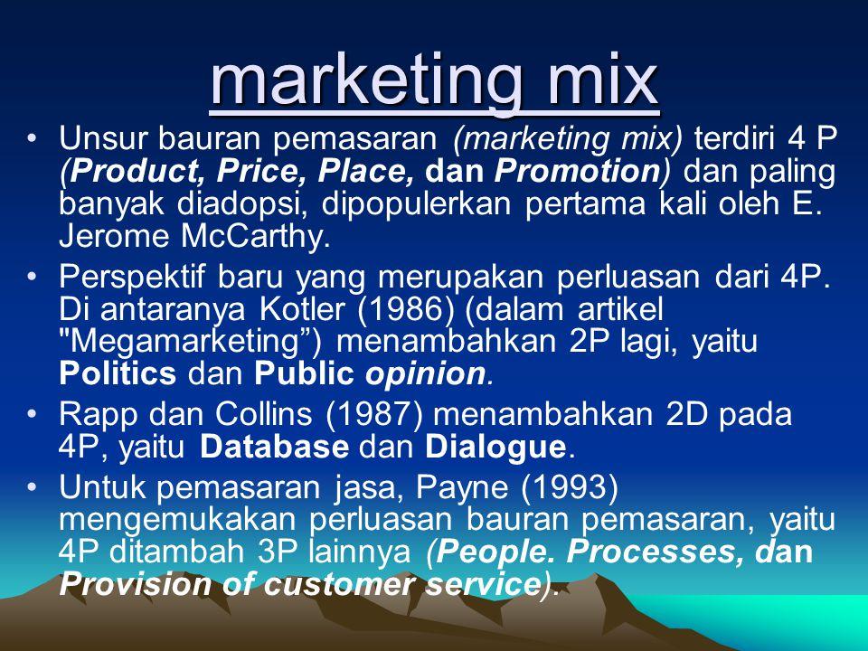marketing mix •Unsur bauran pemasaran (marketing mix) terdiri 4 P (Product, Price, Place, dan Promotion) dan paling banyak diadopsi, dipopulerkan pert