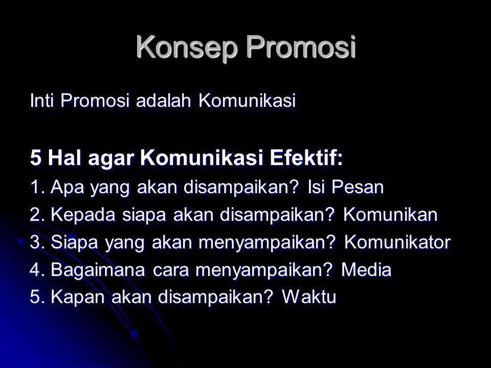 Konsep Promosi Inti Promosi adalah Komunikasi 5 Hal agar Komunikasi Efektif: 1.