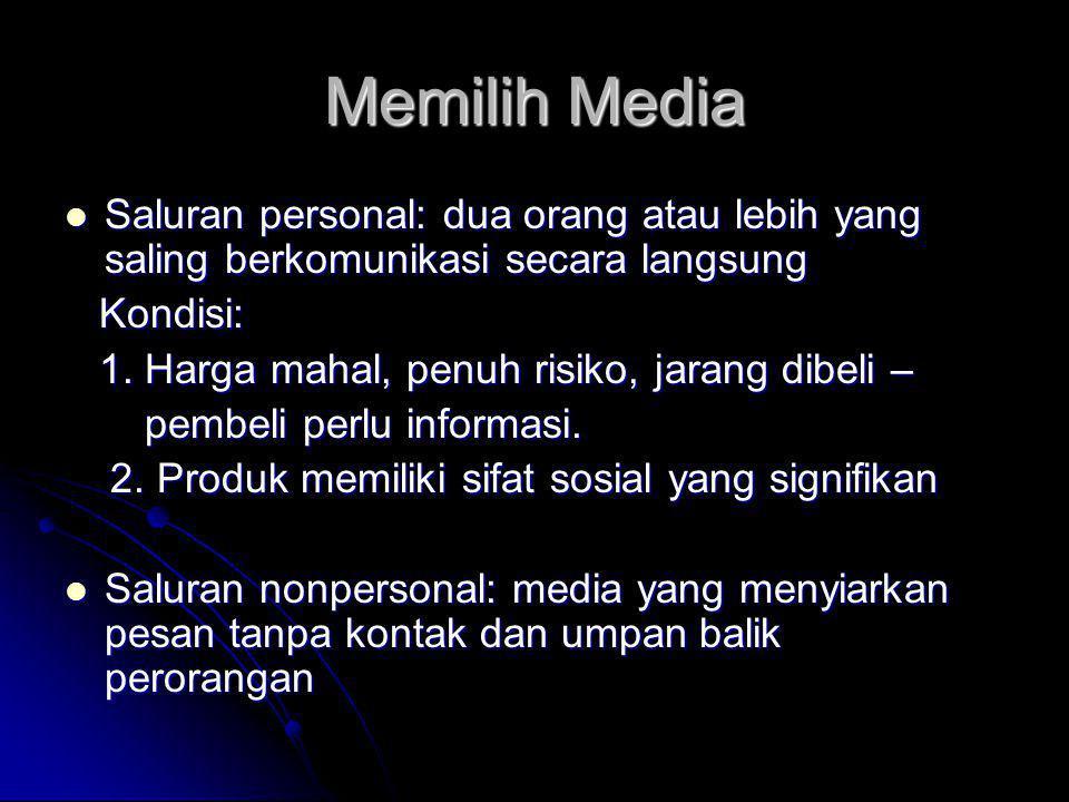 Memilih Media  Saluran personal: dua orang atau lebih yang saling berkomunikasi secara langsung Kondisi: Kondisi: 1.