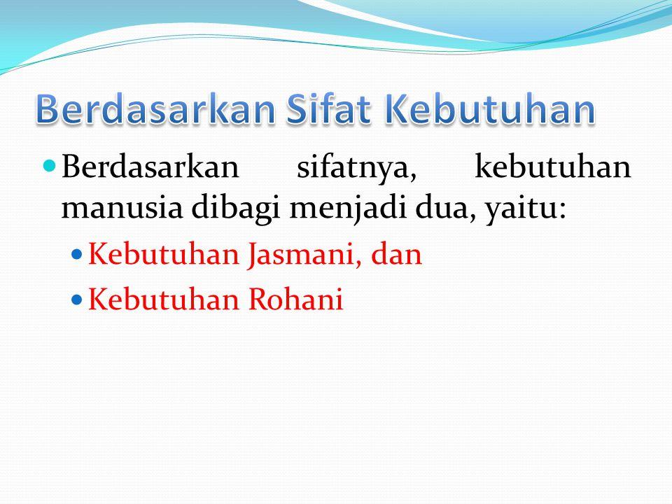 Berdasarkan sifatnya, kebutuhan manusia dibagi menjadi dua, yaitu:  Kebutuhan Jasmani, dan  Kebutuhan Rohani