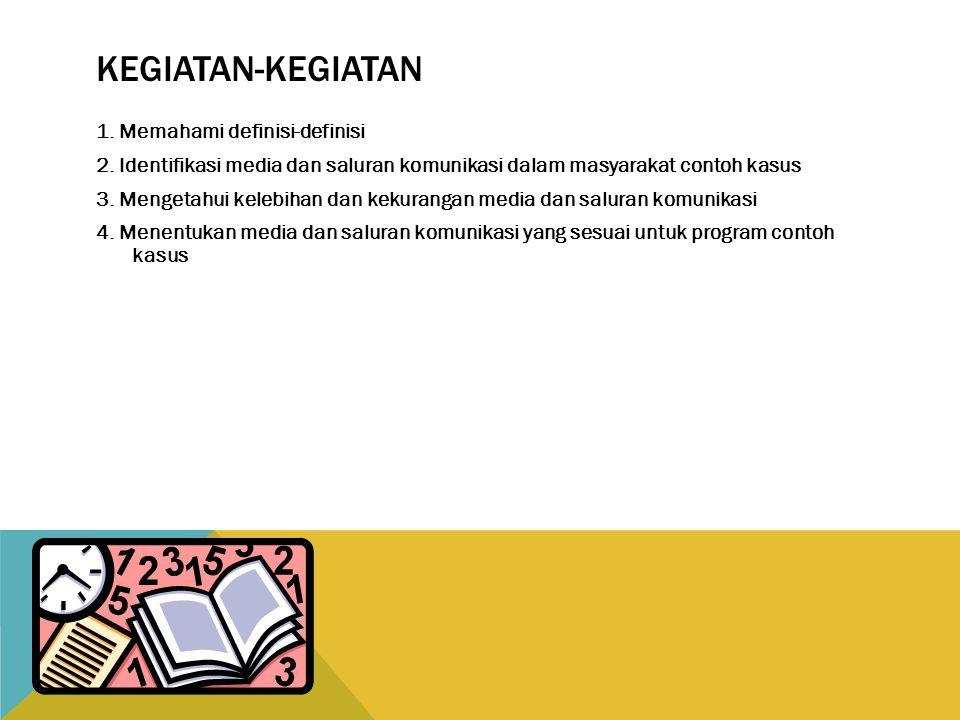 KEGIATAN-KEGIATAN 1.Memahami definisi-definisi 2.