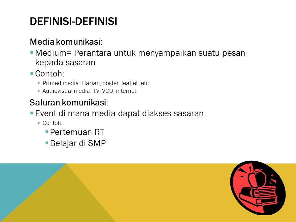 DEFINISI-DEFINISI Media komunikasi:  Medium= Perantara untuk menyampaikan suatu pesan kepada sasaran  Contoh:  Printed media: Harian, poster, leaflet,etc.