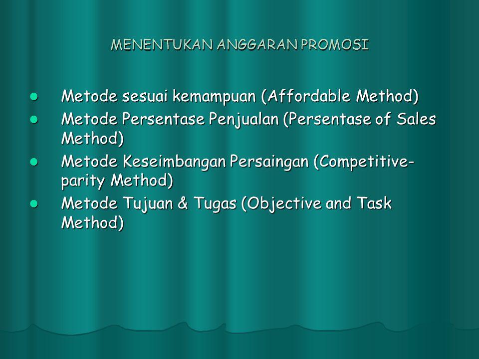 MENENTUKAN ANGGARAN PROMOSI  Metode sesuai kemampuan (Affordable Method)  Metode Persentase Penjualan (Persentase of Sales Method)  Metode Keseimba