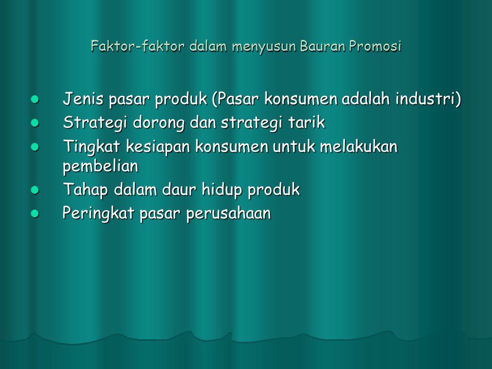 Faktor-faktor dalam menyusun Bauran Promosi  Jenis pasar produk (Pasar konsumen adalah industri)  Strategi dorong dan strategi tarik  Tingkat kesia