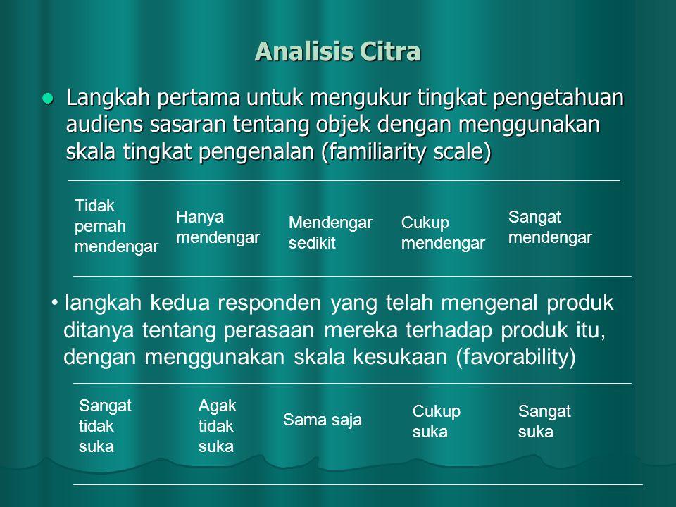 Analisis Citra  Langkah pertama untuk mengukur tingkat pengetahuan audiens sasaran tentang objek dengan menggunakan skala tingkat pengenalan (familia