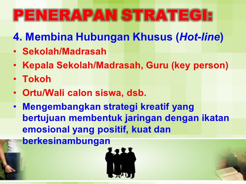 4. Membina Hubungan Khusus (Hot-line) •Sekolah/Madrasah •Kepala Sekolah/Madrasah, Guru (key person) •Tokoh •Ortu/Wali calon siswa, dsb. •Mengembangkan