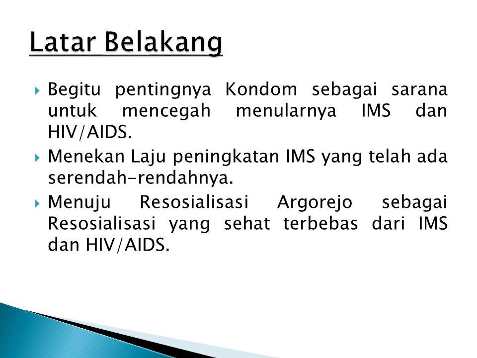  Begitu pentingnya Kondom sebagai sarana untuk mencegah menularnya IMS dan HIV/AIDS.  Menekan Laju peningkatan IMS yang telah ada serendah-rendahnya