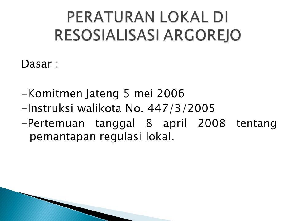 Dasar : -Komitmen Jateng 5 mei 2006 -Instruksi walikota No. 447/3/2005 -Pertemuan tanggal 8 april 2008 tentang pemantapan regulasi lokal.