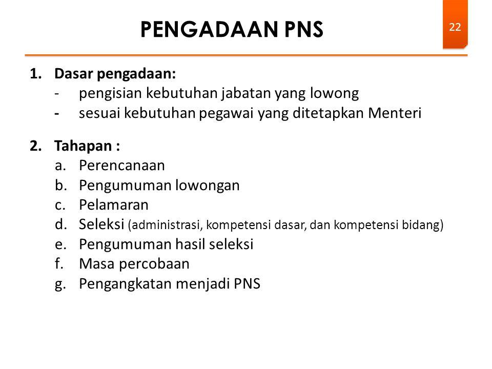 1.Dasar pengadaan: -pengisian kebutuhan jabatan yang lowong -sesuai kebutuhan pegawai yang ditetapkan Menteri 2.Tahapan : a.Perencanaan b.Pengumuman l