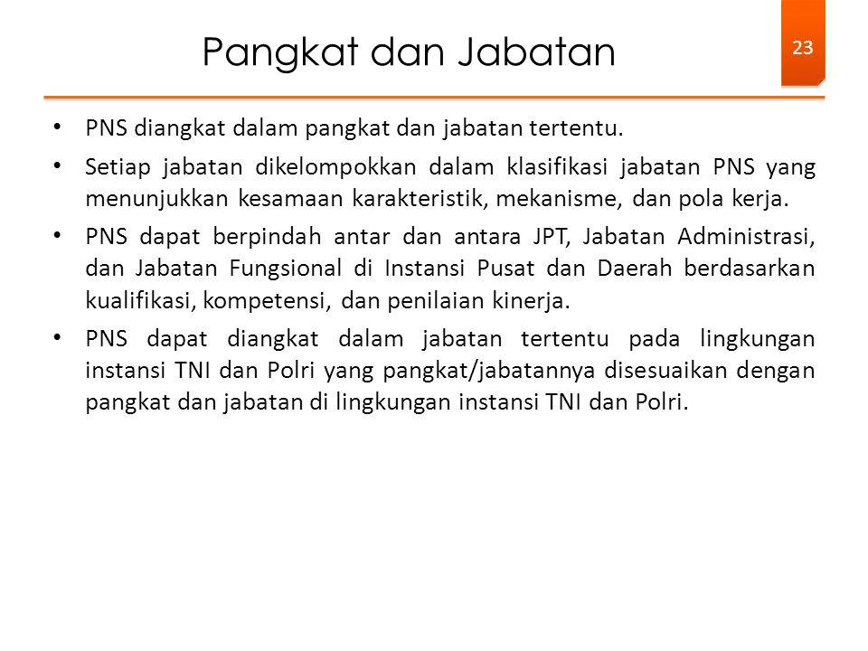 • PNS diangkat dalam pangkat dan jabatan tertentu. • Setiap jabatan dikelompokkan dalam klasifikasi jabatan PNS yang menunjukkan kesamaan karakteristi