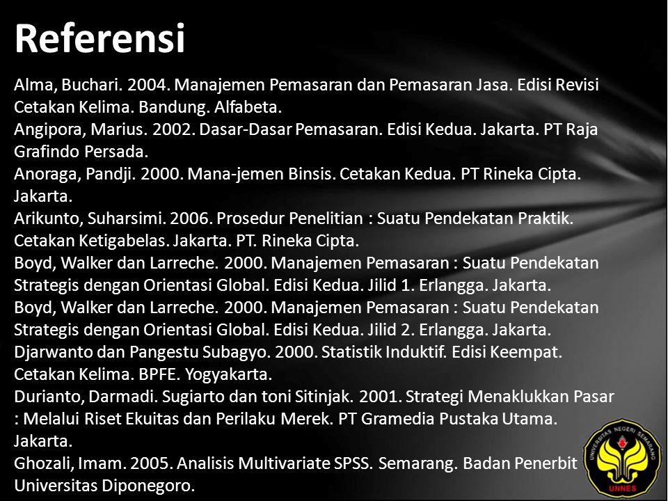 Referensi Alma, Buchari. 2004. Manajemen Pemasaran dan Pemasaran Jasa.