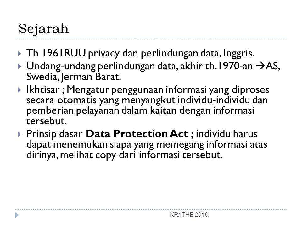 Sejarah KR/ITHB 2010  Th 1961RUU privacy dan perlindungan data, Inggris.  Undang-undang perlindungan data, akhir th.1970-an  AS, Swedia, Jerman Bar