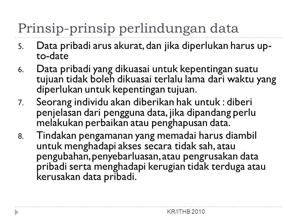 Prinsip-prinsip perlindungan data KR/ITHB 2010 5. Data pribadi arus akurat, dan jika diperlukan harus up- to-date 6. Data pribadi yang dikuasai untuk