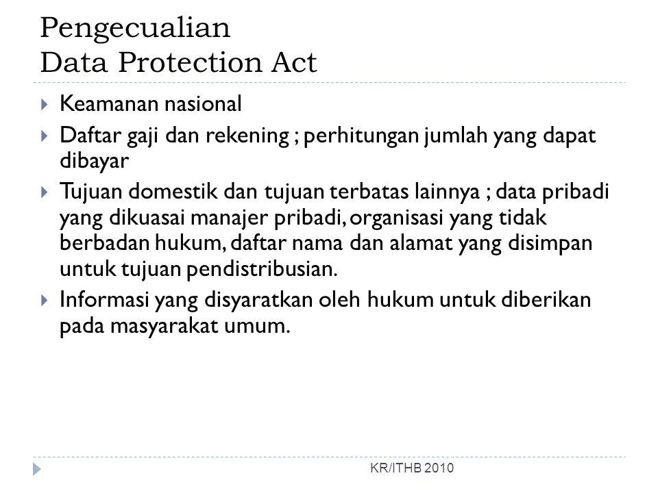 Pengecualian Data Protection Act KR/ITHB 2010  Keamanan nasional  Daftar gaji dan rekening ; perhitungan jumlah yang dapat dibayar  Tujuan domestik