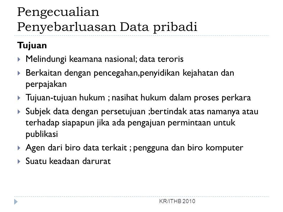 Pengecualian Penyebarluasan Data pribadi KR/ITHB 2010 Tujuan  Melindungi keamana nasional; data teroris  Berkaitan dengan pencegahan,penyidikan keja