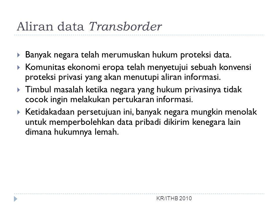 Aliran data Transborder KR/ITHB 2010  Banyak negara telah merumuskan hukum proteksi data.  Komunitas ekonomi eropa telah menyetujui sebuah konvensi