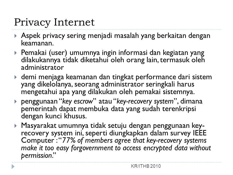 Privacy Internet KR/ITHB 2010  Aspek privacy sering menjadi masalah yang berkaitan dengan keamanan.  Pemakai (user) umumnya ingin informasi dan kegi