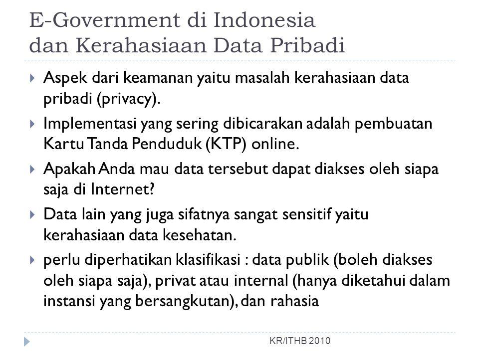 E-Government di Indonesia dan Kerahasiaan Data Pribadi  Aspek dari keamanan yaitu masalah kerahasiaan data pribadi (privacy).  Implementasi yang ser