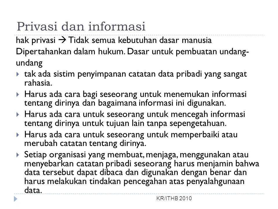 Privasi dan informasi KR/ITHB 2010 hak privasi  Tidak semua kebutuhan dasar manusia Dipertahankan dalam hukum. Dasar untuk pembuatan undang- undang 