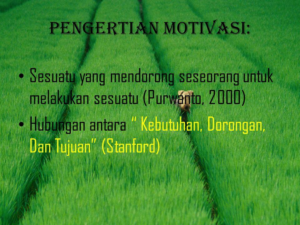 """Pengertian motivasi: • Sesuatu yang mendorong seseorang untuk melakukan sesuatu (Purwanto, 2000) • Hubungan antara """" Kebutuhan, Dorongan, Dan Tujuan"""""""