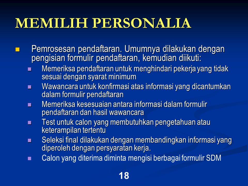 18 MEMILIH PERSONALIA  Pemrosesan pendaftaran.