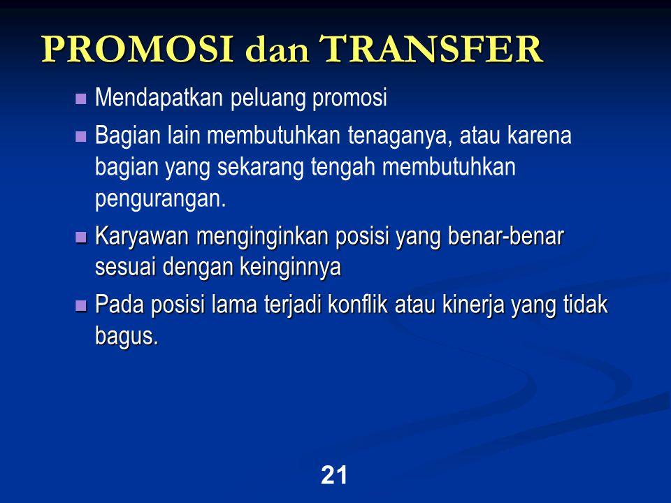 21 PROMOSI dan TRANSFER   Mendapatkan peluang promosi   Bagian lain membutuhkan tenaganya, atau karena bagian yang sekarang tengah membutuhkan pengurangan.