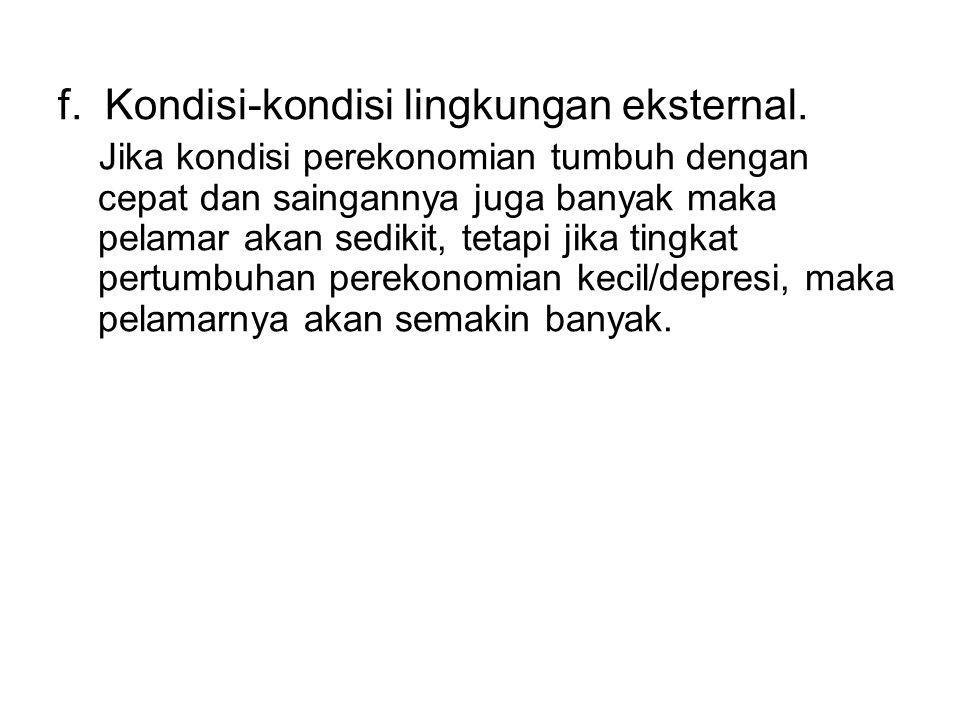 f.Kondisi-kondisi lingkungan eksternal.