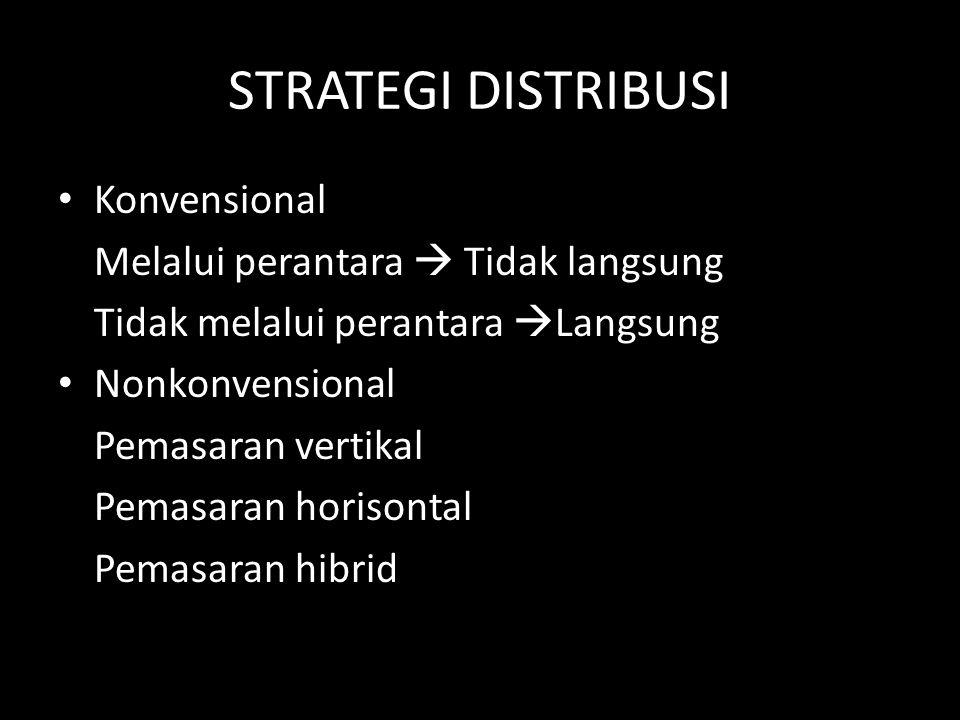 STRATEGI DISTRIBUSI • Konvensional Melalui perantara  Tidak langsung Tidak melalui perantara  Langsung • Nonkonvensional Pemasaran vertikal Pemasara