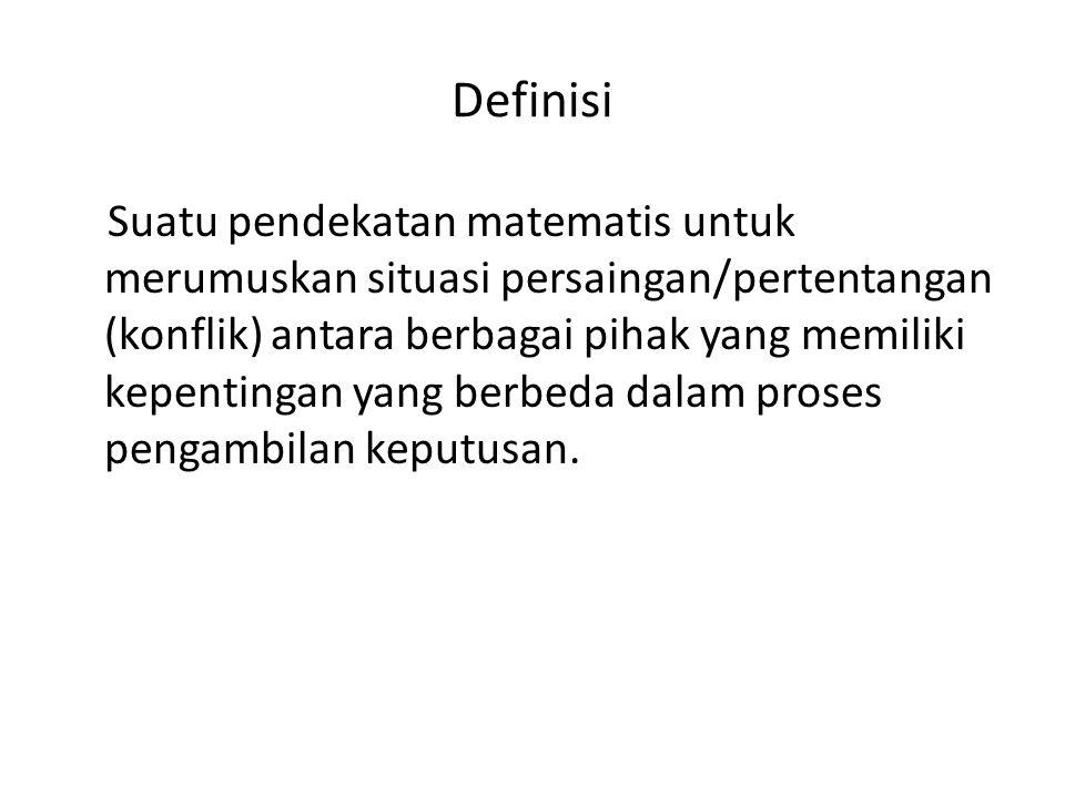 Definisi Suatu pendekatan matematis untuk merumuskan situasi persaingan/pertentangan (konflik) antara berbagai pihak yang memiliki kepentingan yang be