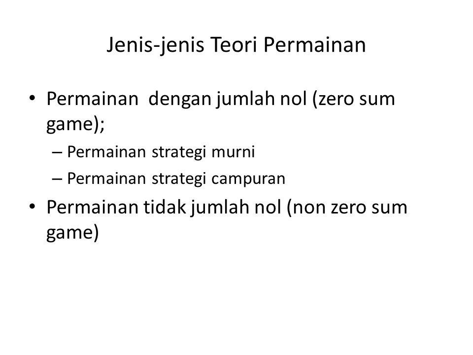 Jenis-jenis Teori Permainan • Permainan dengan jumlah nol (zero sum game); – Permainan strategi murni – Permainan strategi campuran • Permainan tidak