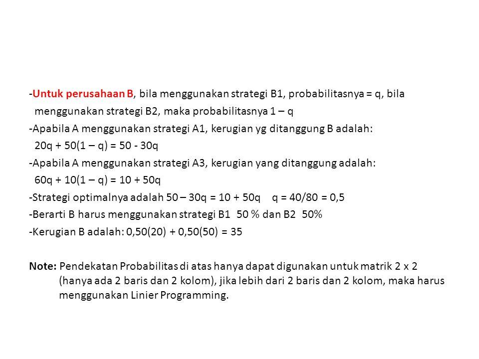 -Untuk perusahaan B, bila menggunakan strategi B1, probabilitasnya = q, bila menggunakan strategi B2, maka probabilitasnya 1 – q -Apabila A menggunaka
