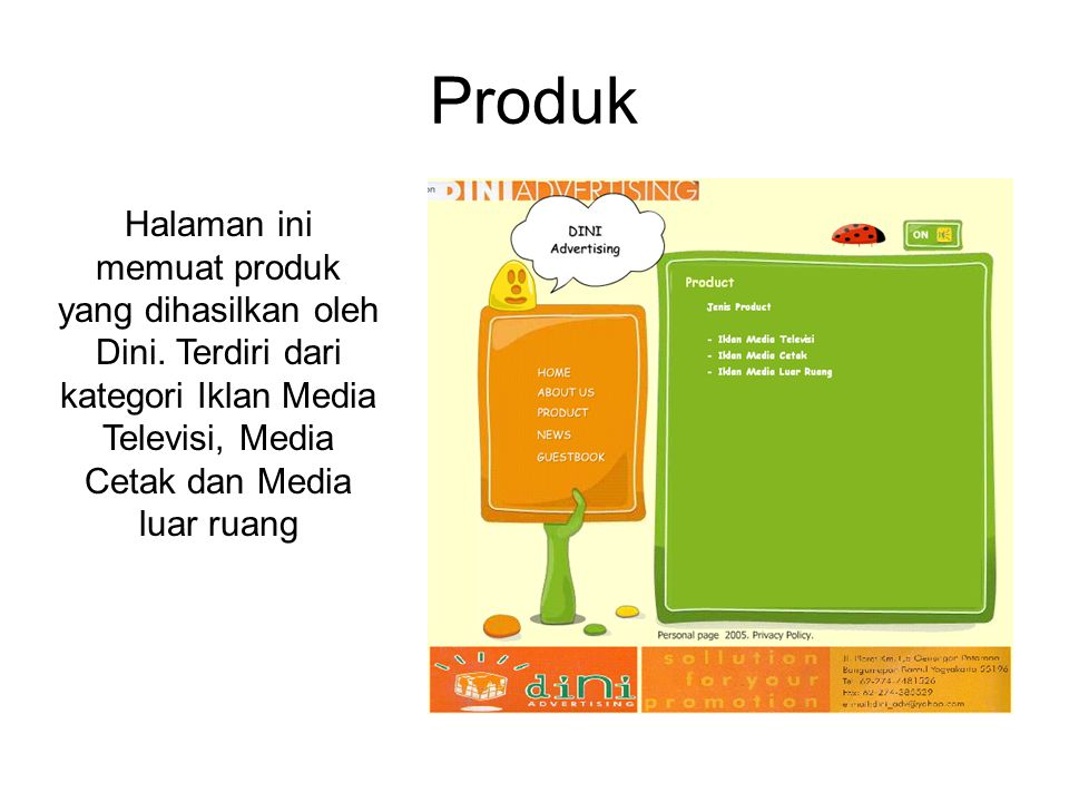 Produk Halaman ini memuat produk yang dihasilkan oleh Dini.
