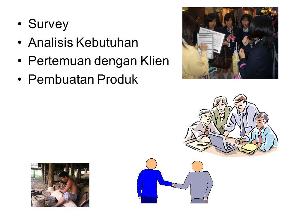 •Survey •Analisis Kebutuhan •Pertemuan dengan Klien •Pembuatan Produk