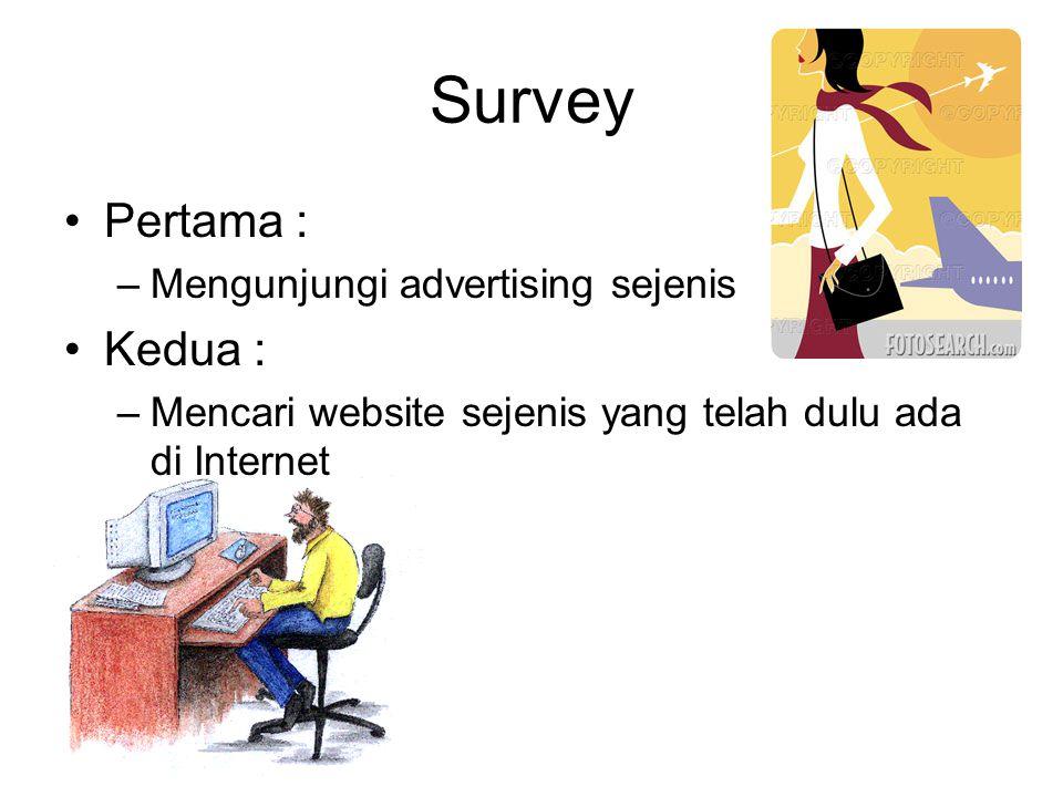 Survey •Pertama : –Mengunjungi advertising sejenis •Kedua : –Mencari website sejenis yang telah dulu ada di Internet