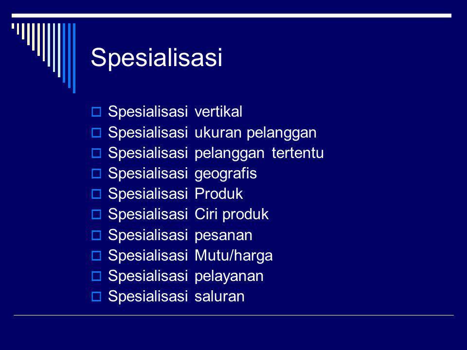 Spesialisasi  Spesialisasi vertikal  Spesialisasi ukuran pelanggan  Spesialisasi pelanggan tertentu  Spesialisasi geografis  Spesialisasi Produk