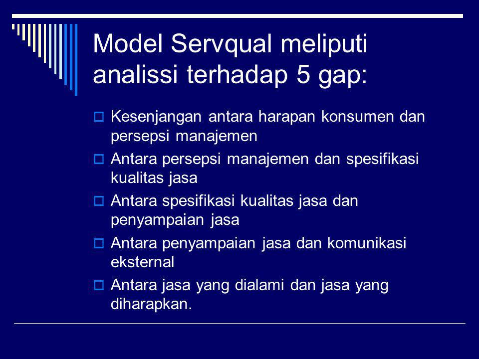 Model Servqual meliputi analissi terhadap 5 gap:  Kesenjangan antara harapan konsumen dan persepsi manajemen  Antara persepsi manajemen dan spesifik
