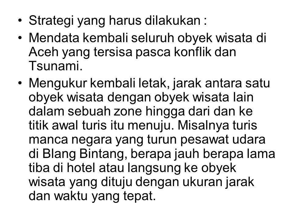 •Strategi yang harus dilakukan : •Mendata kembali seluruh obyek wisata di Aceh yang tersisa pasca konflik dan Tsunami. •Mengukur kembali letak, jarak