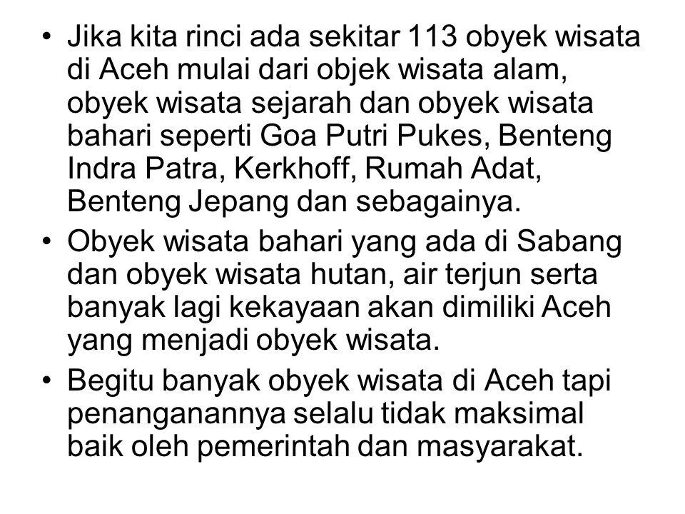 •Jika kita rinci ada sekitar 113 obyek wisata di Aceh mulai dari objek wisata alam, obyek wisata sejarah dan obyek wisata bahari seperti Goa Putri Puk