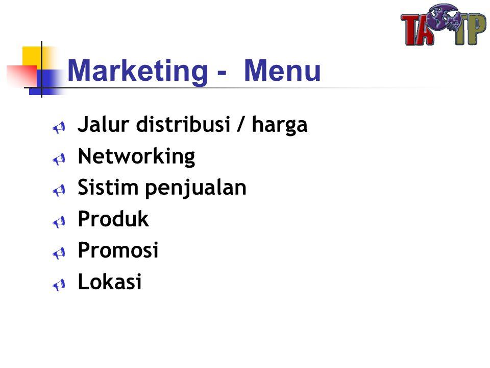 Marketing - Menu  Jalur distribusi / harga  Networking  Sistim penjualan  Produk  Promosi  Lokasi