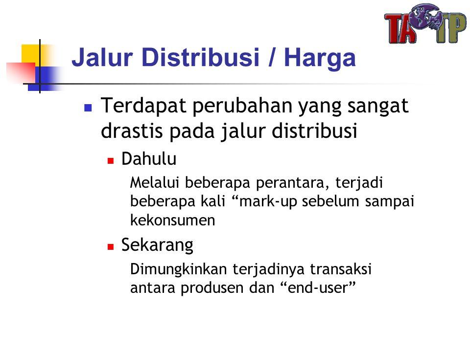 """Jalur Distribusi / Harga  Terdapat perubahan yang sangat drastis pada jalur distribusi  Dahulu Melalui beberapa perantara, terjadi beberapa kali """"ma"""