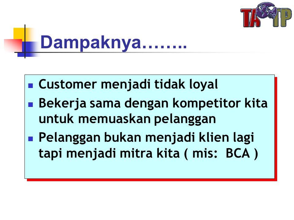 Dampaknya……..  Customer menjadi tidak loyal  Bekerja sama dengan kompetitor kita untuk memuaskan pelanggan  Pelanggan bukan menjadi klien lagi tapi